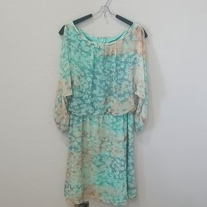 Vince Camuto Watercolor Cold Shoulder Dress Sz 4